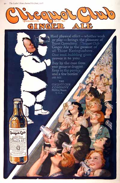 1918 Clicquot Club Ginger Ale Vintage Ad #001979