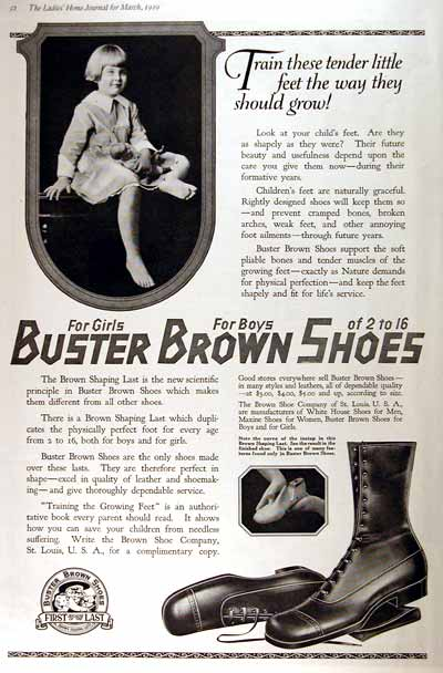 1919 Buster Brown Shoes Vintage Ad #001964