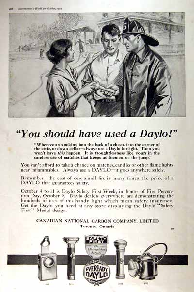 1919 Eveready Daylo Flashlight Vintage Print Ad #001653