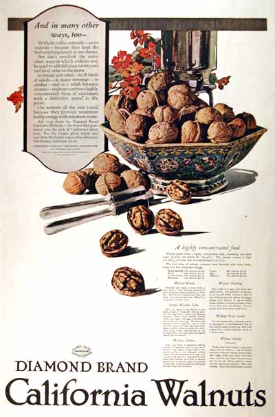 1919 Diamond California Walnuts Vintage Print Ad #001962