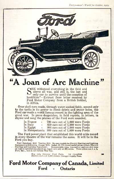 1919 Ford Touring Vintage Print Ad #001658