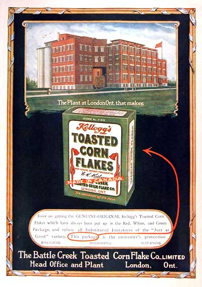 1919 Kellogg's Corn Flakes London Ont. Vintage Ad #001642