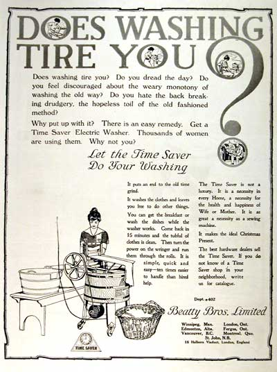 1919 Time Saver Washing Machine Vintage Print Ad #001663