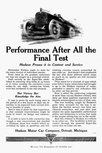 1920 Hudson Race Car Vintage Ad #000101