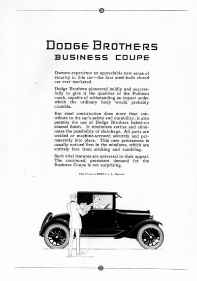 1923 Dodge Business Coupe Classic Ad #000109