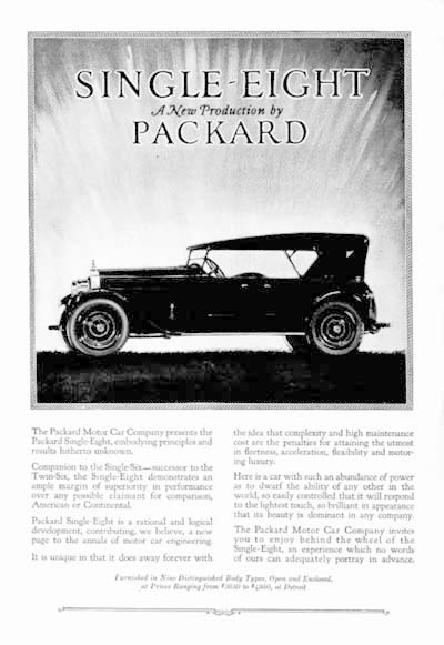 1923 Packard Single Eight Classic Ad #000112