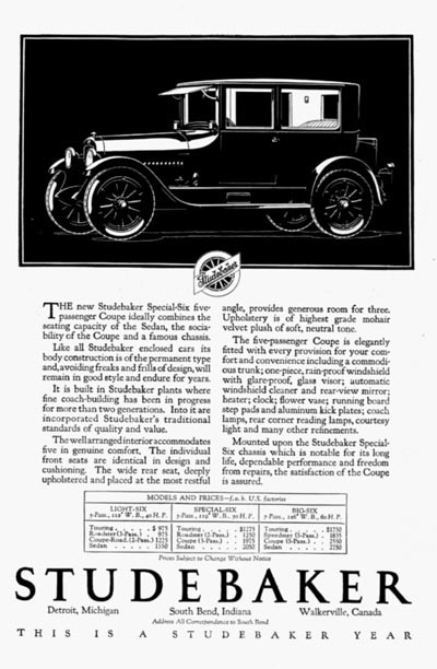 1923 Studebaker 5 Passenger Coupe Classic Ad #000116