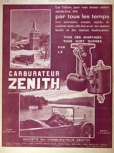1924 Zenith Carburater Classic Ad #002004