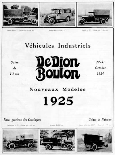 1925 DeDion Bouton Trucks Vintage French Ad #000164