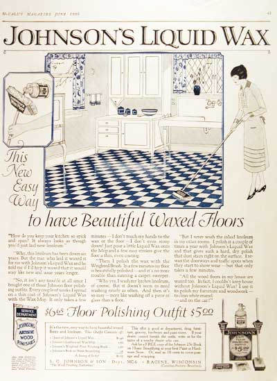 1925 Johnson's Floor Wax Vintage Ad #000168