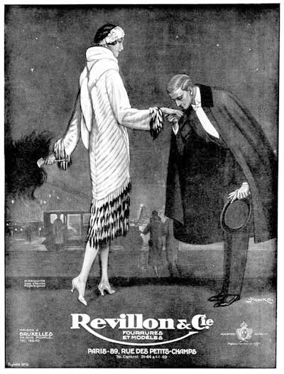 1925 Revillon Furs Co. Vintage French Ad #000163