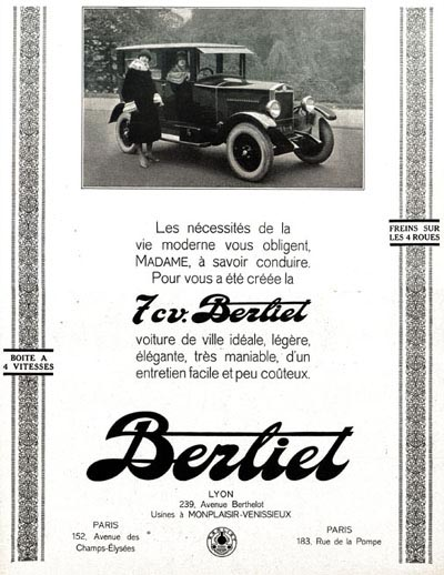 1926 Berliet Sedan Vintage French Ad #000210