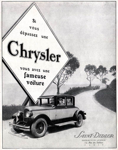 1926 Chrysler Coupé Royal Vintage French Ad #000209