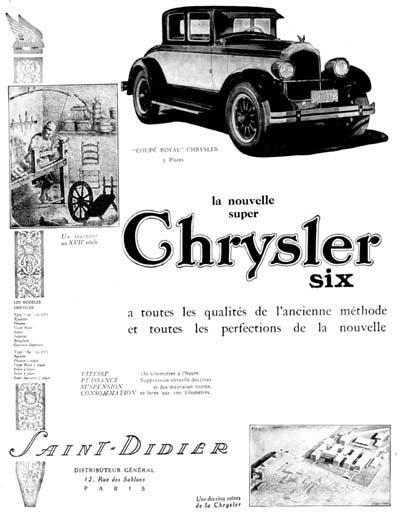 1926 Chrysler Coupé Royal Vintage French Ad #000211