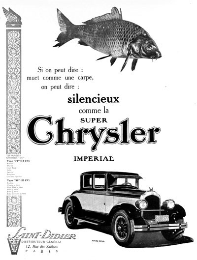 1926 Chrysler Coupé Royal Vintage French Ad #000208
