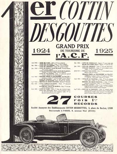 1926 Cottin Desgouttes Roadster Vintage French Ad #000207