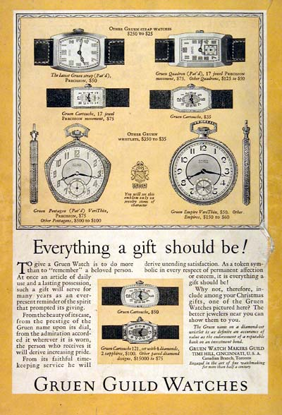 1926 Gruen Watches #003225
