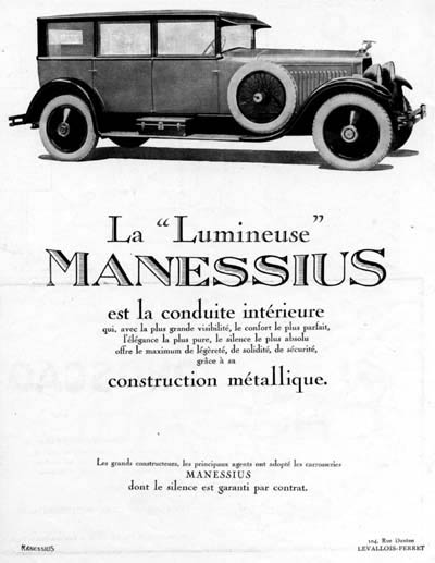 1926 Manessius Limousine Vintage French Ad #000212
