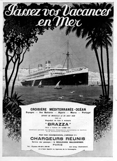 1928 S.S. Brazza Vintage French Ad #000245