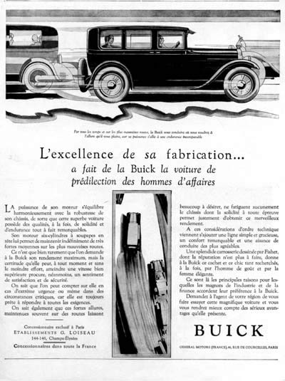 1928 Buick Sedan Vintage French Ad #000239