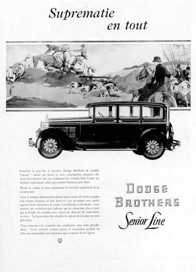 1928 Dodge Brothers Senior Vintage French Ad #000242