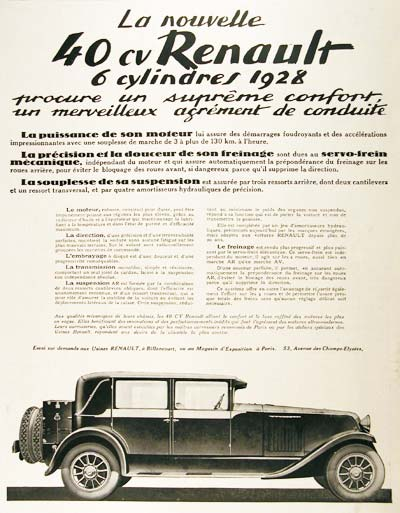 1928 Renault 40 hp Vintage French Ad #001466