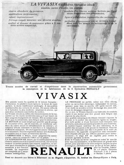 1928 Renault Vivasix Sedan Vintage French Ad #000232