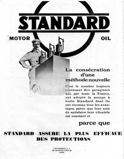 1928 Standard Motor Oil Vintage French Ad #000218