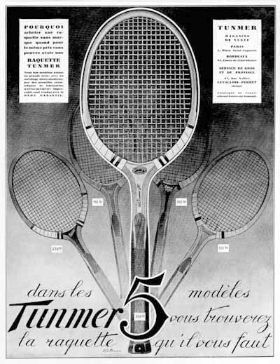 1928 Tunmer Tennis Rackets Vintage French Ad #000231