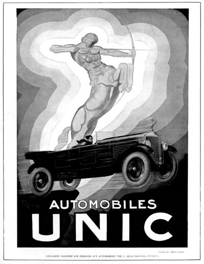 1928 Automobiles Unic Vintage French Art Deco Ad #000228