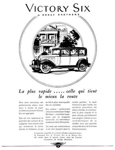 1929 Dodge Victory Six Vintage French Ad #000264