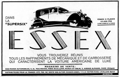 1929 Essex Supersix Coach Vintage French Ad #000261