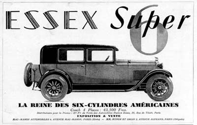 1929 Essex Super Six Vintage French Ad #000267