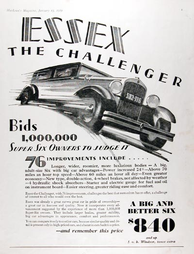 1929 Essex Six Challenger #007926