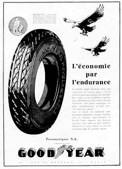 1929 Goodyear Tires Vintage French Ad #0000262