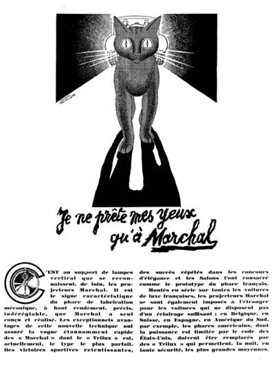 1929 Marchal Headlamps Vintage French Ad #000258