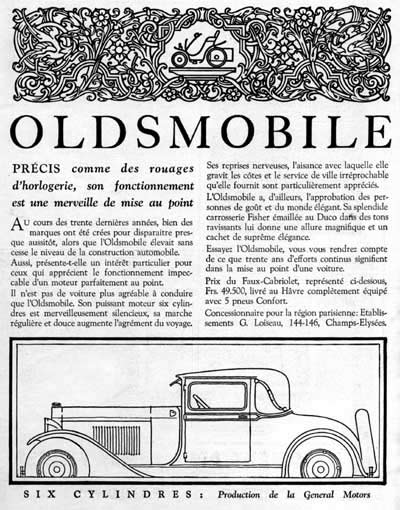 1929 Oldsmobile Six Vintage French Ad #000251