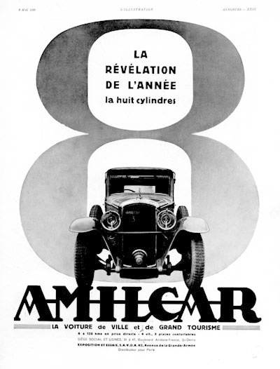 1930 Amilcar Vintage French Ad