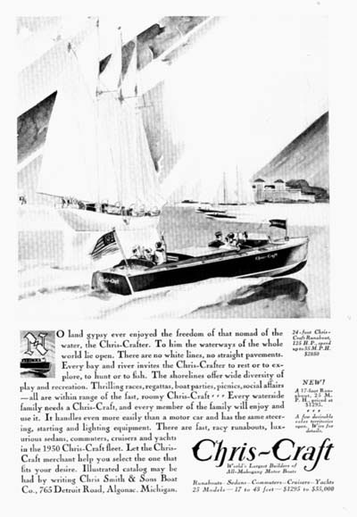 1930 Chris Craft 24ft. Runabout Vintage Ad  #000289