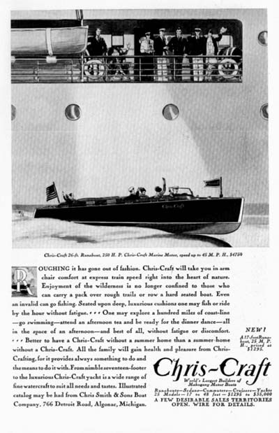 1930 Chris Craft 26ft. Runabout Vintage Ad  #000286