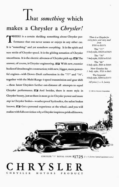 1930 Chrysler Royal Coupe Vintage Ad #000101