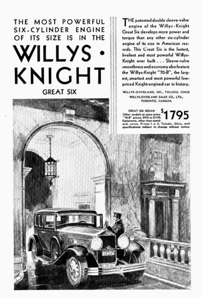 1930 Willys Knight Great Six Vintage Ad #000292