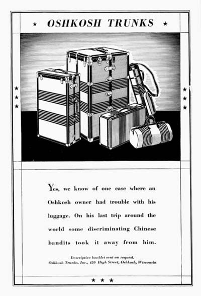 1931 Oshkosh Trunks Vintage Ad #000302