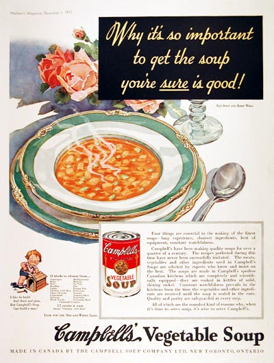 1933 Campbell's Vegetable Soup #007983