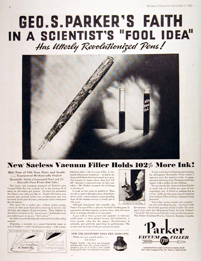 1933 Parker Fountain Pen #008074