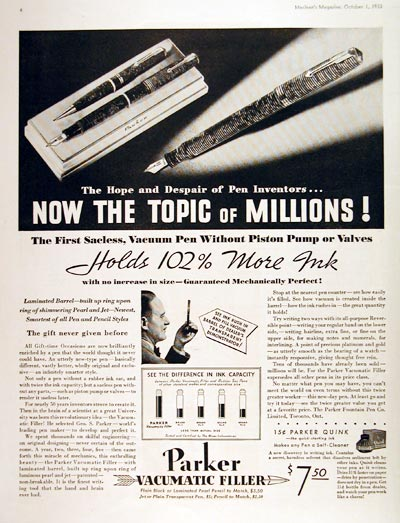 1933 Parker Vacumatic Fountain Pen #007912