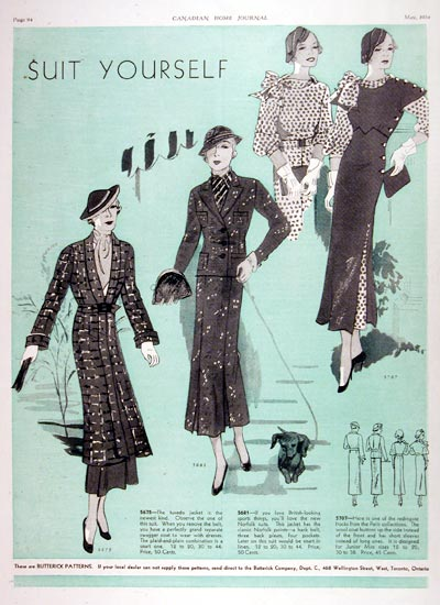 1934 Butterick Fashions #007942