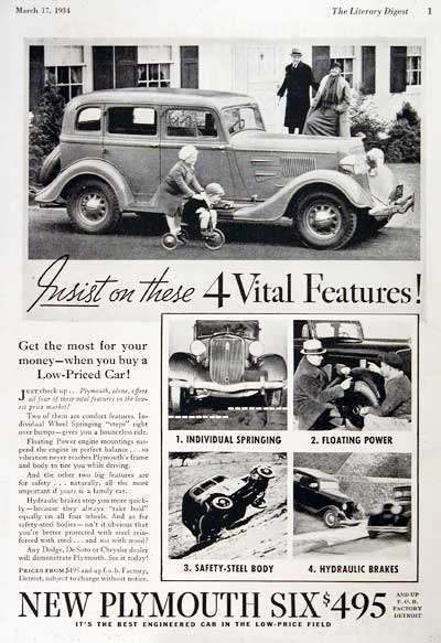 1934 Plymouth Six Sedan Vintage Ad #000355