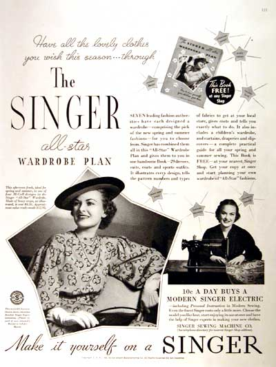 1936 Singer Sewing Machine Co. Vintage Ad #002122