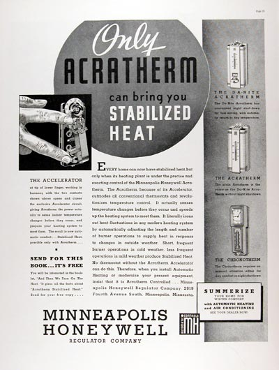 1937 Honeywell Acratherm Thermostat Classic Ad #024224